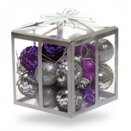 Kicsi, flitteres és glitteres karácsonyfadísz készlet
