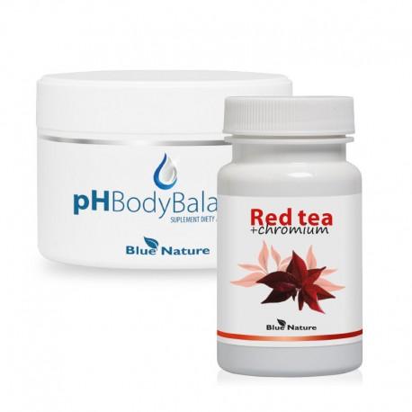 Készlet: vörös tea, króm kapszulákban + ph body balance