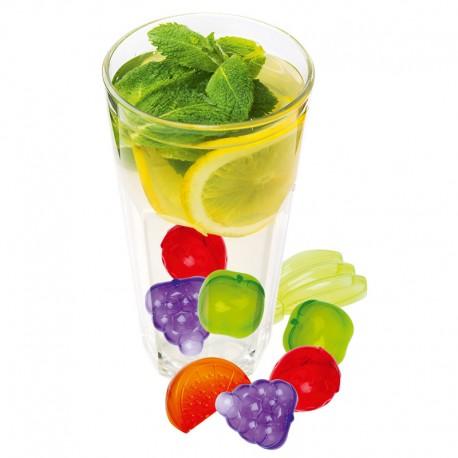 Gyümölcs alakú, színes, étel- és italhűtő kockák