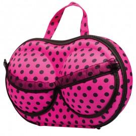 Elegáns fehérneműtartó táska rózsaszín, pöttyös
