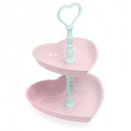 """Kétszintes tortatartó """"Szívek"""" rózsaszín"""