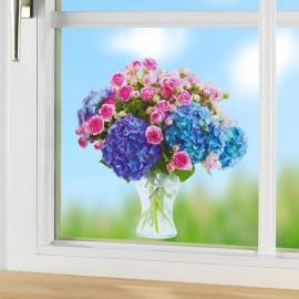 Ablakmatrica hortenzia és rózsa
