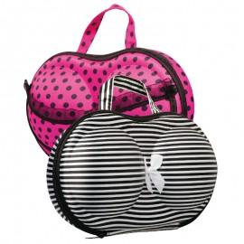Két elegáns fehérneműtartó táska - pöttyös rózsaszín + Fekete-fehér csíkos
