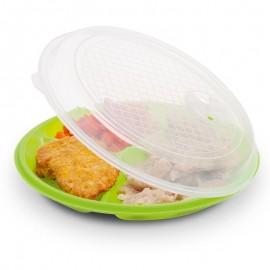 Három rekesszel rendelkező, mikrohullámú sütőbe tehető tányér