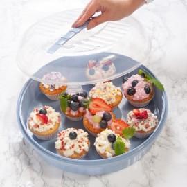 Süti és finomságok tárolására szolgáló tál fedővel