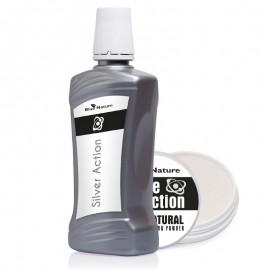 Készlet: action silver folyékony fogászatiszájvíz kolloid ezüsttel + fogfehérítő por white action